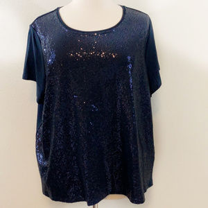 Tommy Hilfiger Navy Sequin-Front T-Shirt 3X